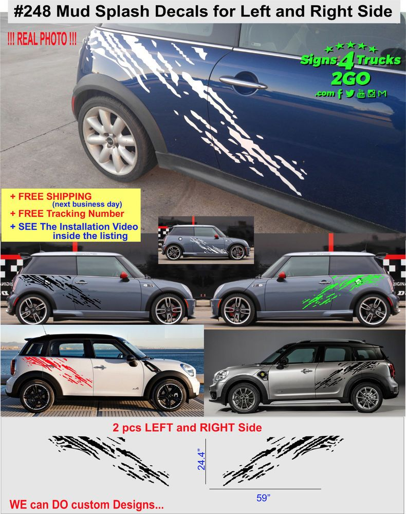 0248 dirty mud splash decal side mini cooper s jcw clubman countryman any model oracal
