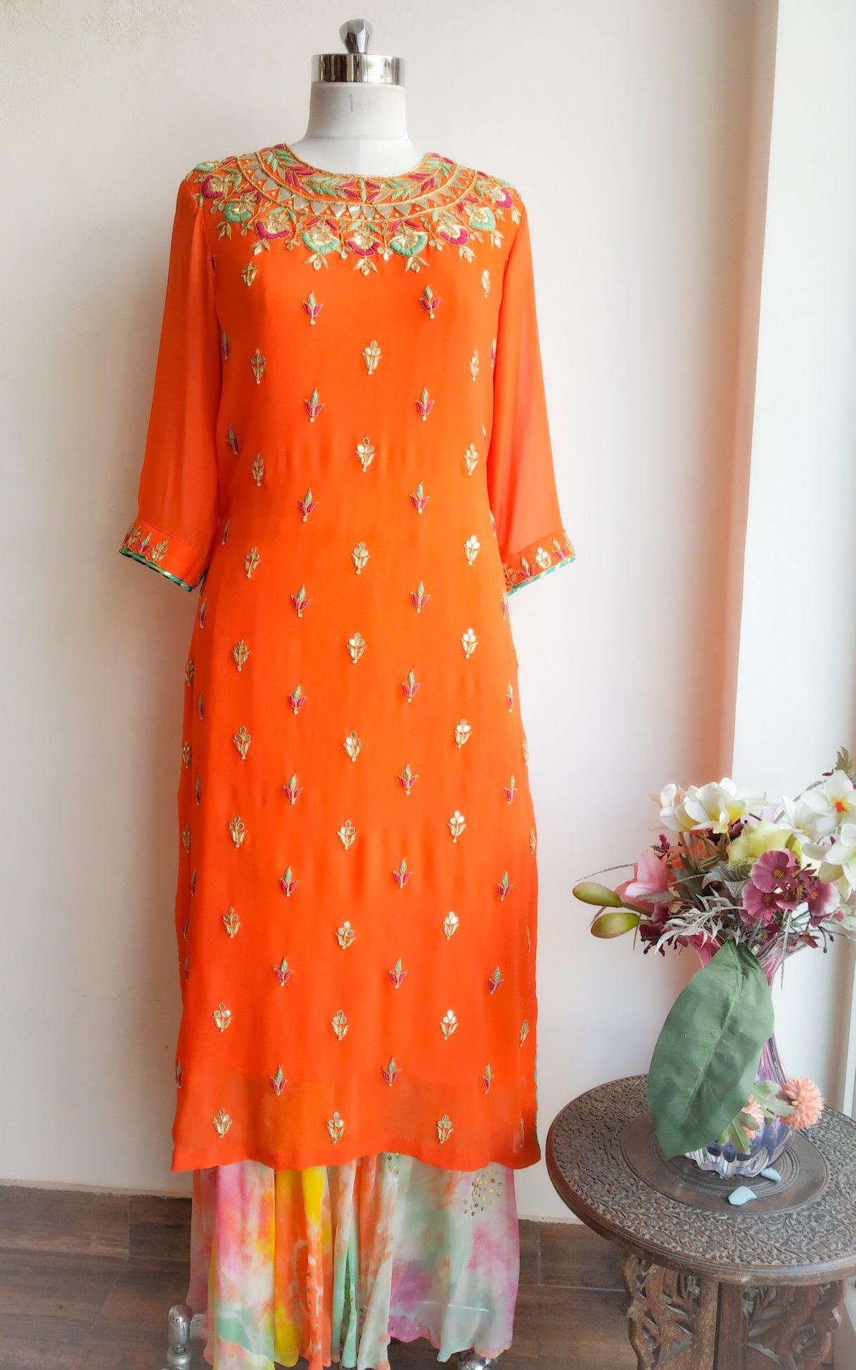 Orange Gota Patti And Threadwork Kurta Designer Dresses Indian Embroidery Suits Embroidery Dress [ 1947 x 1217 Pixel ]