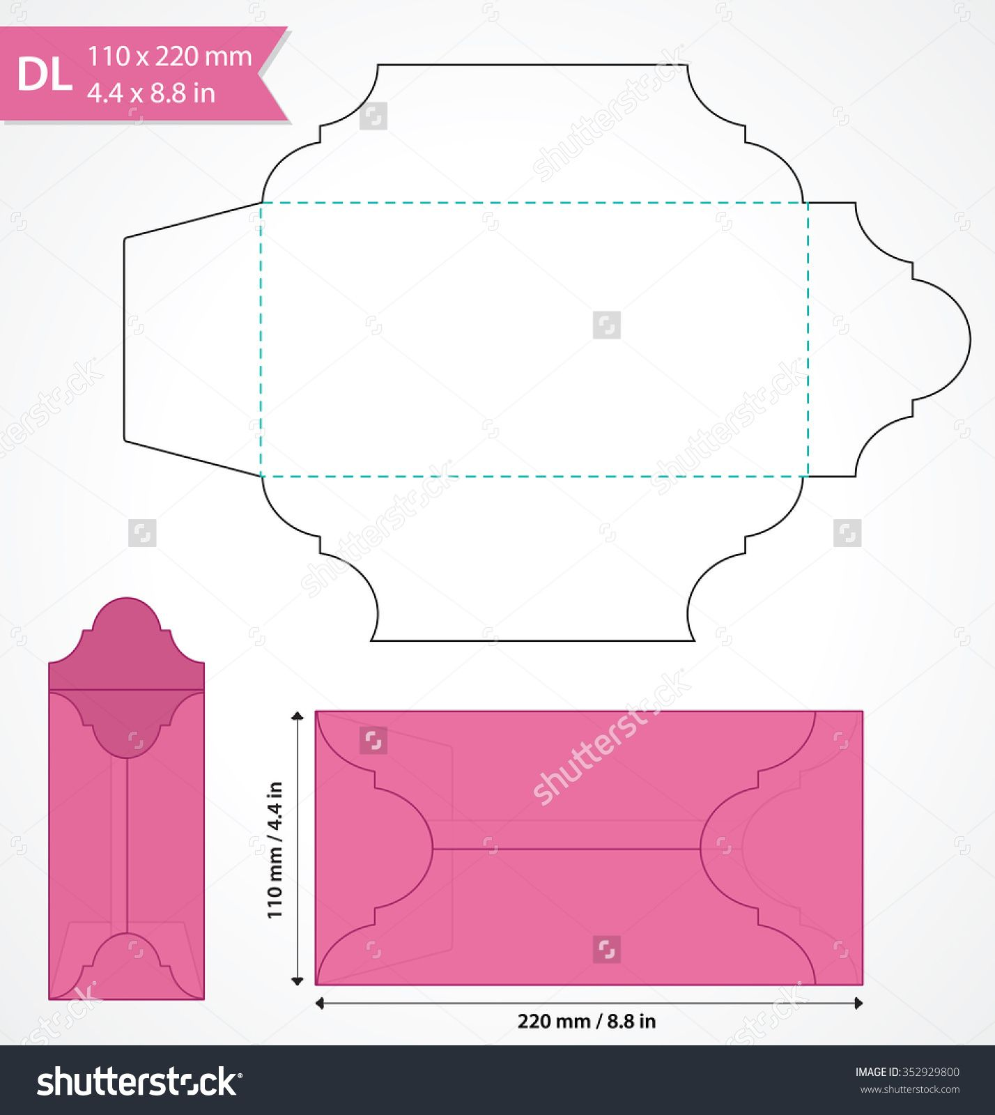 Die cut vector envelope template. Standard DL size envelope to hold ...