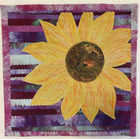 Wall Decor, Quilted Wall Hanging, Art Quilt, Sunflower, Wall Art ...
