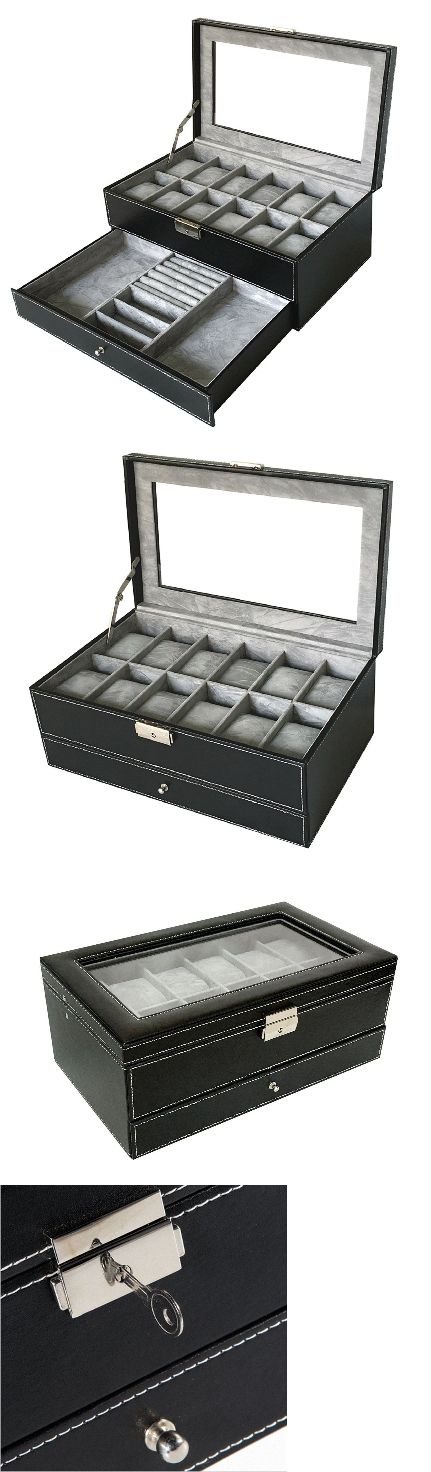Jewelry Boxes 3820 Watch Box Jewelry Case Organizer Large 12 Black