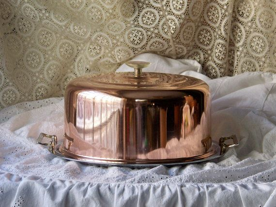 Vintage Cake Keeper Cake Cover Cake Dome Copper by cynthiasattic, $69.00