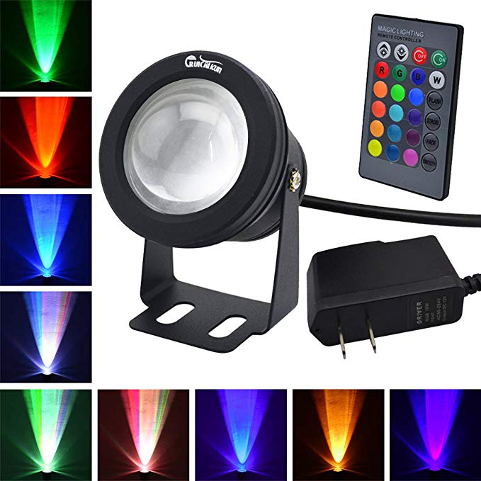 Ruicaikun Led Flood Light 10w Waterproof Outdoor Us Plug Rgb Light With Remote Control Dc Ac 12v Above Groun Led Flood Lights Outdoor Flood Lights Led Flood