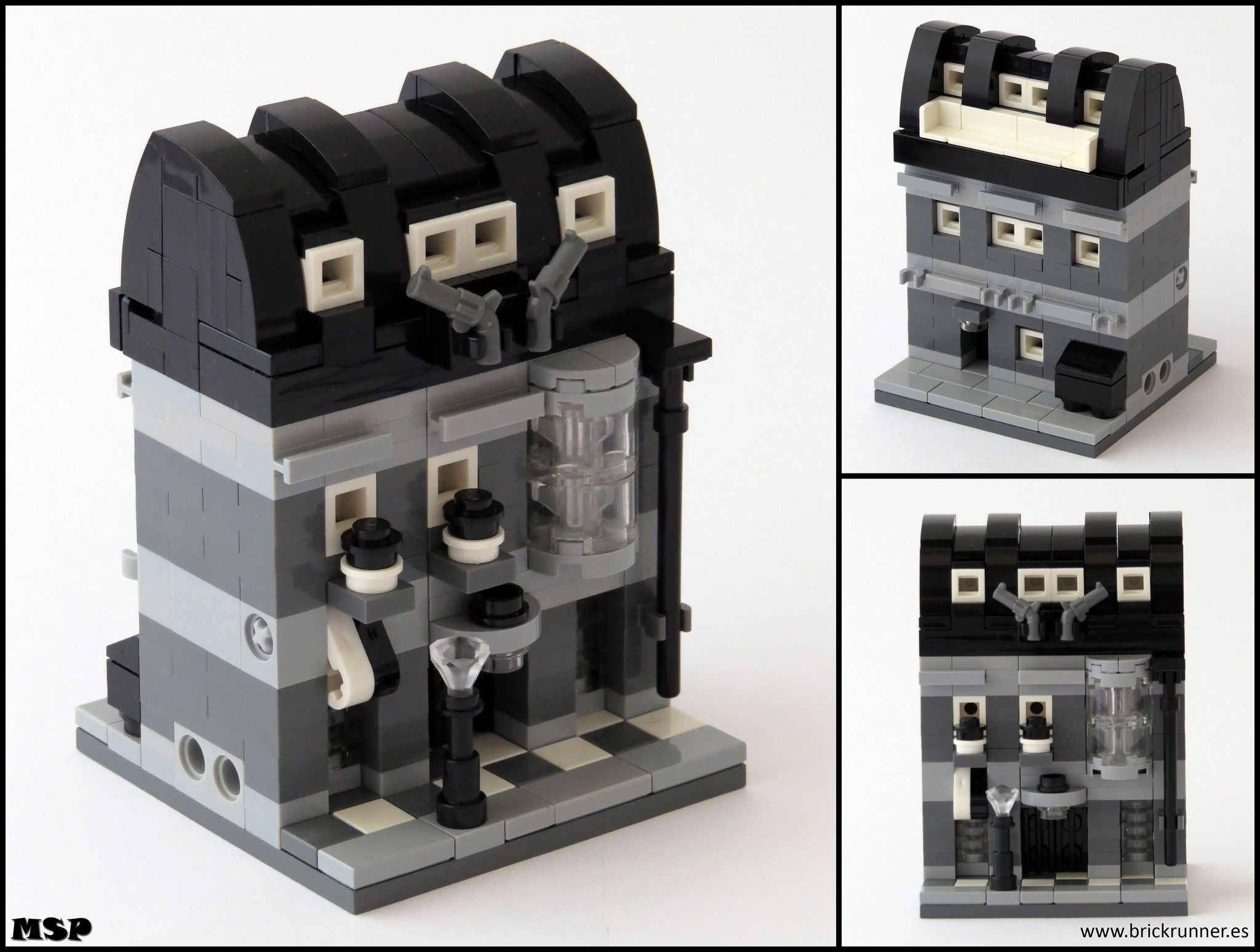 MSP! built a modular using only black, clear and various gray elements. The limited color palette enables thefocus of the model to be in the details, whi