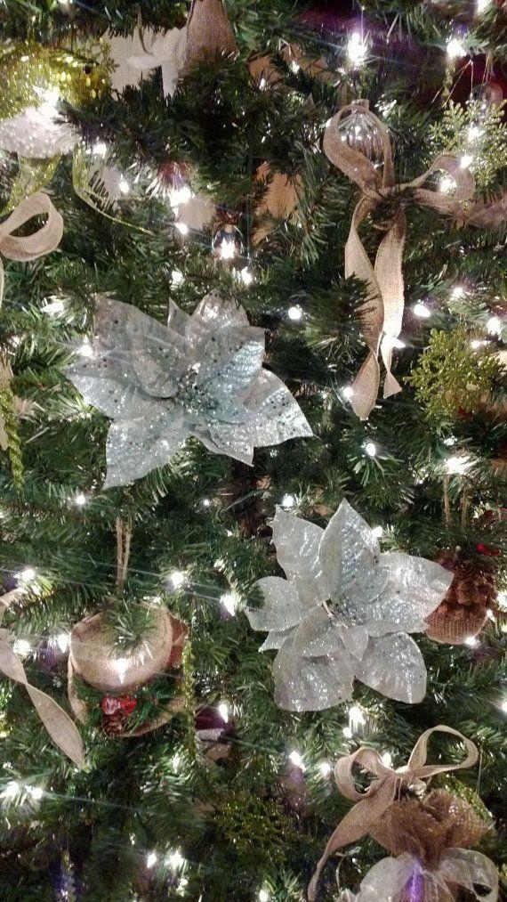 3 Silver Poinsettia Christmas Ornament Set Silver Poinsettia Ornament Silver Ornamen Christmas Decorations Rustic Christmas Ornaments Christmas Tree Ornaments
