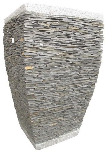 Stacked Stone Flower Pots And Planters Traditional Indoor Pots And
