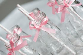 Decorated milk bottles - sweet idea for baby girl baby shower