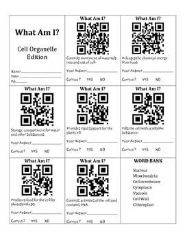 QR Codes & Cell Organelle Vocabulary Biology classroom