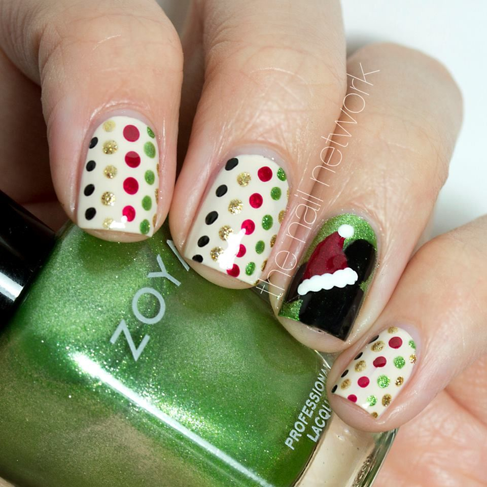 Mickey Mouse Christmas themed Nail Art featuring Zoya Tracie & Ziv ...