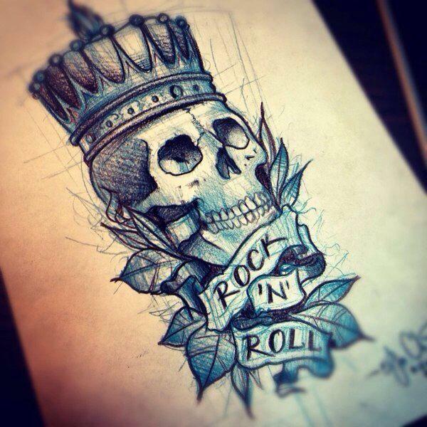 Tattoo Idea. Tattoo. Skull. Blue. Crown. Rock 'n Roll