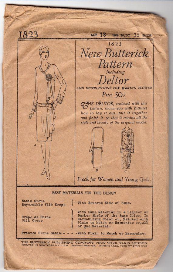 Antike Nähen Muster 20er Jahre Damen Flapper Kleid Vintage | Nähen ...
