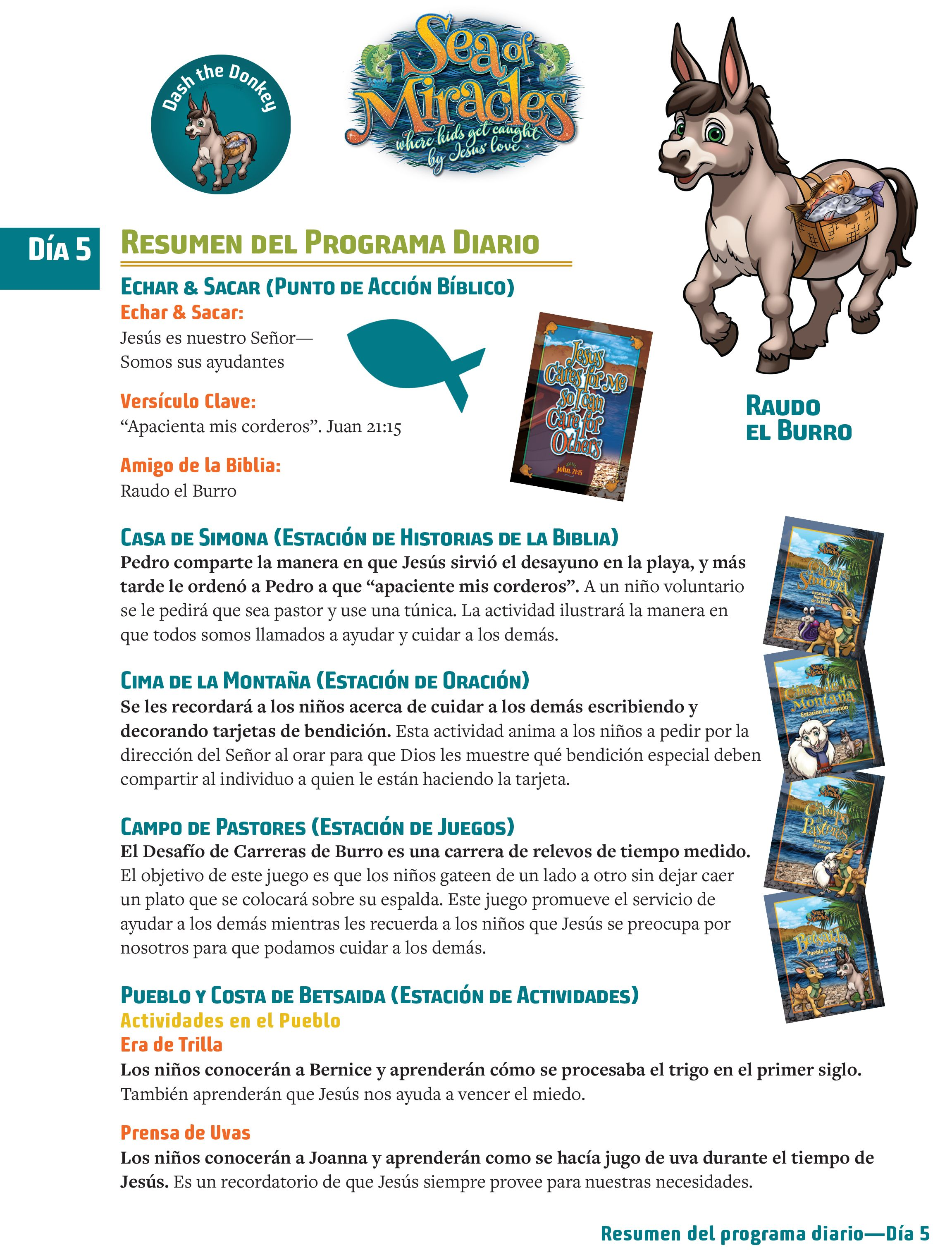 Here is the Daily Program Overview for Day 5 in Spanish | Sea of