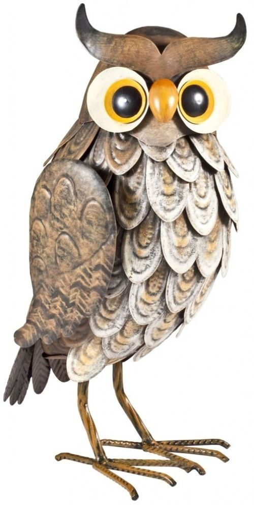 Outdoor Owl Decor Garden Decoration Patio Ornament Metal Wise Animal Yard New Uk