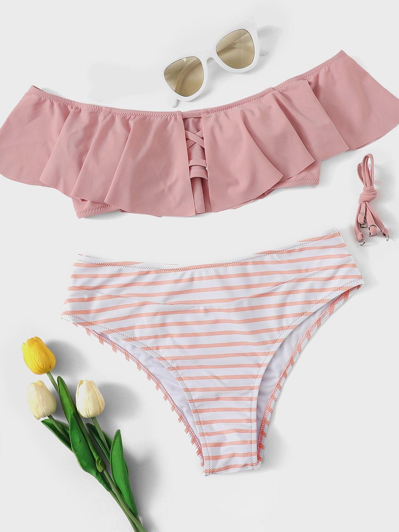 e7fa846ac11e2 Pink Striped High Waist Bottom Flounce Bikini  https://mybikiniflex.com/products
