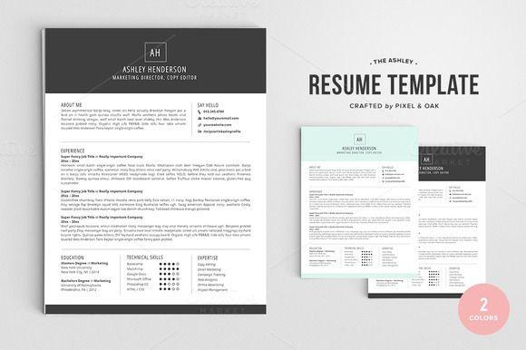 Resume Template The Ashley 4pk by Pixel  Oak on Creative Market