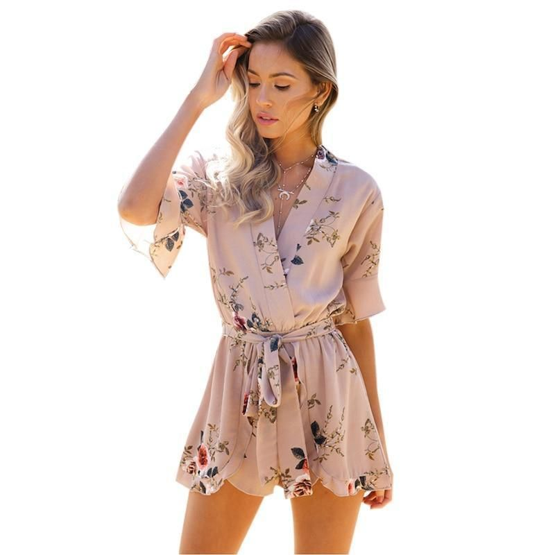 a4f910f39d4d Buy V Neck Ruched Shorts Jumpsuit Rompers and other Clothing at narvay.com.  Women