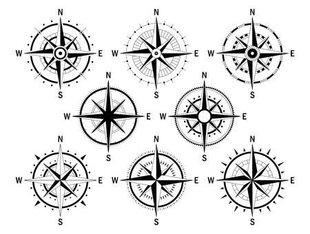 Vector image set of variations of the mark Wind Rose.