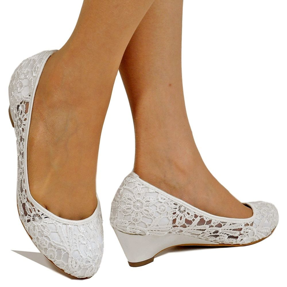 New Ladies Bridal Low Wedge Heel Ivory White Satin Floral Lace Court Shoes C 39