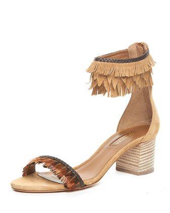 Fringed Ankle-Cuff Block-Heel Sandal, Cappuccino  by Aquazzura at Bergdorf Goodman.