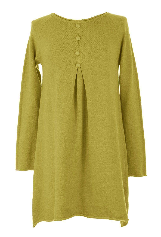 6e3586a78ea 4 Button Detail Angora Knit Tunic Dress MUSTARD One Size Plus UK 12 ...