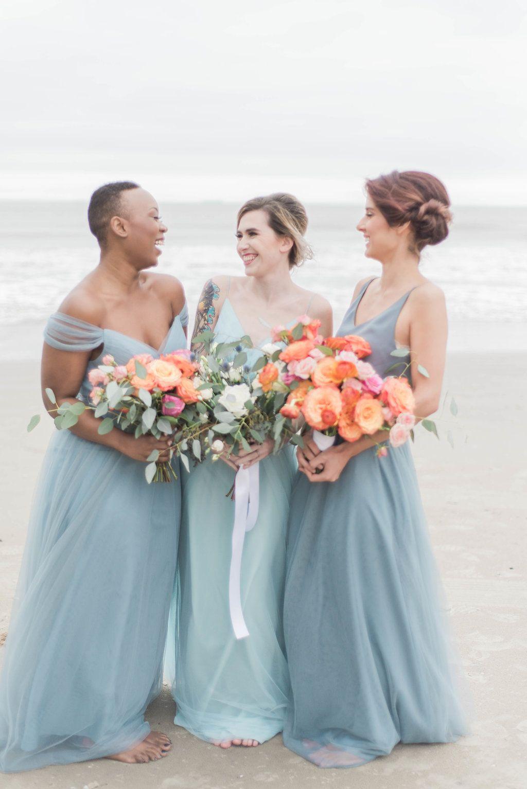 Love tanya bridesmaid dresses at a gorgeous beach wedding