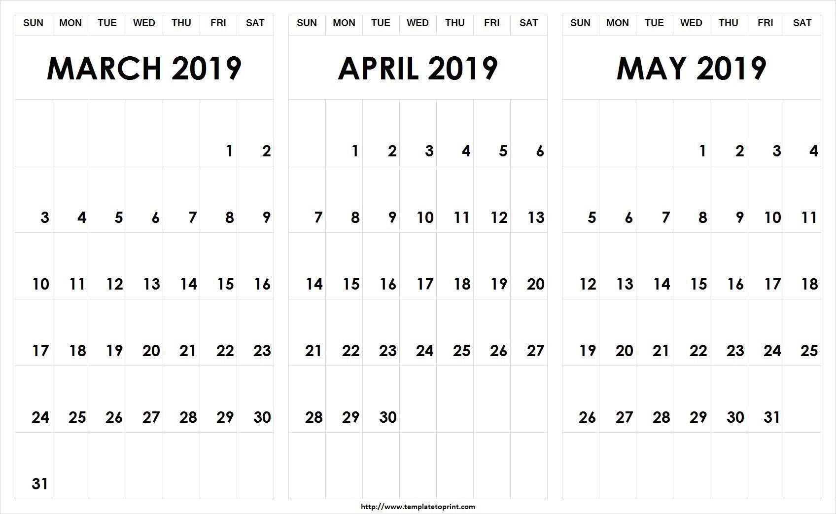 Blank March April May 2019 Calendar Pdf Template Calendar