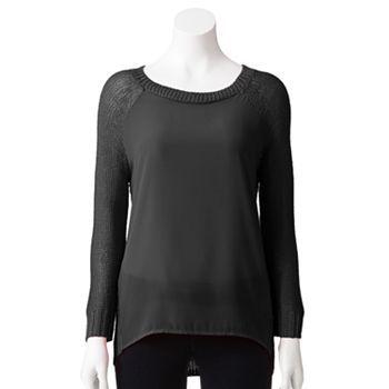 Apt. 9 Raglan Mixed-Media Sweater - Women's