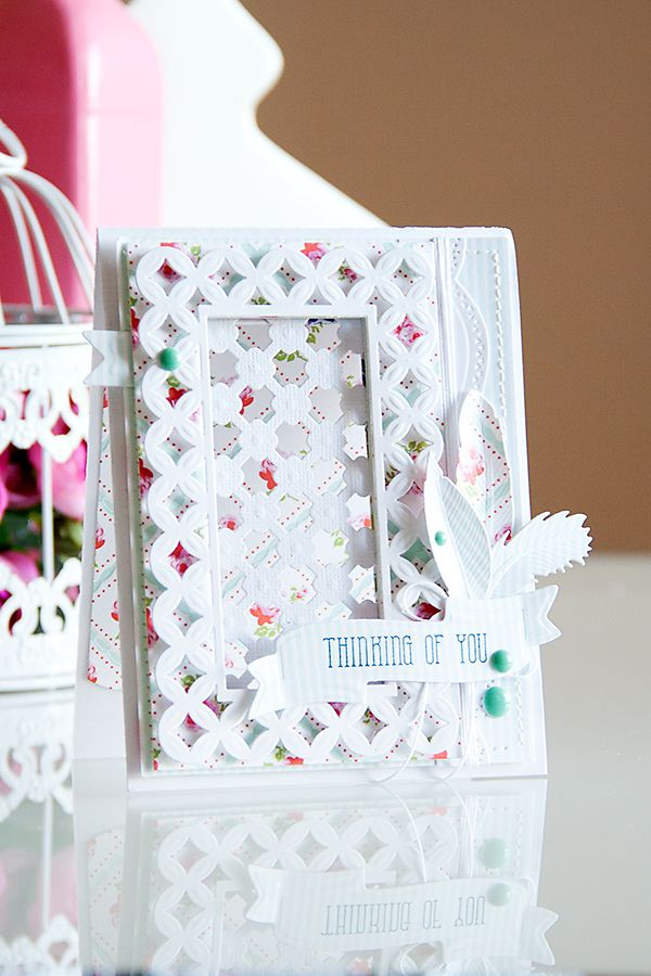 Yana Smakula | Spellbinders and First Edition Thinking of You Card. Dies used: Ribbon Banners S4-324, Feathers S4-428, Fanciful Lattice S6-007, CrissCross S5-197, 5 x 7 Matting Basics B S6-002