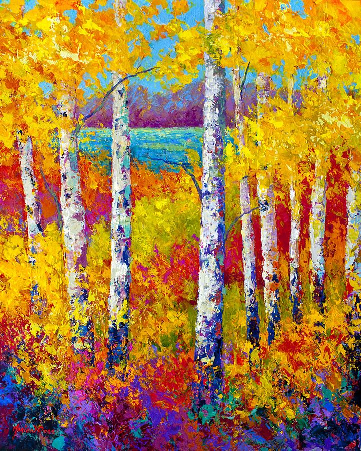 Autumn Patchwork-- acrylic by Marion Rose