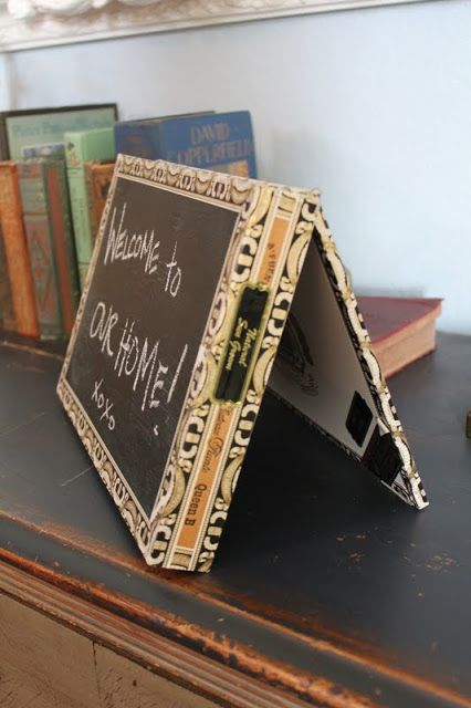 DIY Cigar Box Chalkboard Signs, from Dreambook Design -  I was thinking about putting up an unattractive white board for family messages, but now I have seen this, I've changed my mind!  I have some fabulous old cigar boxes, and even have a 50-percent off coupon to use on some chalkboard paint at a local crafts store.  This is ADORABLE and useful, too.