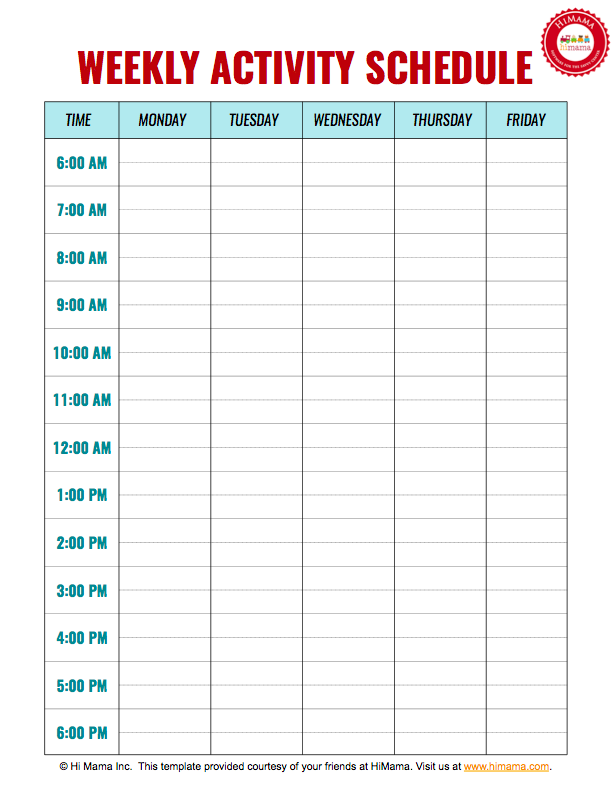 Daycare Weekly Schedule Template   5 Day  Daily Scheduler Template