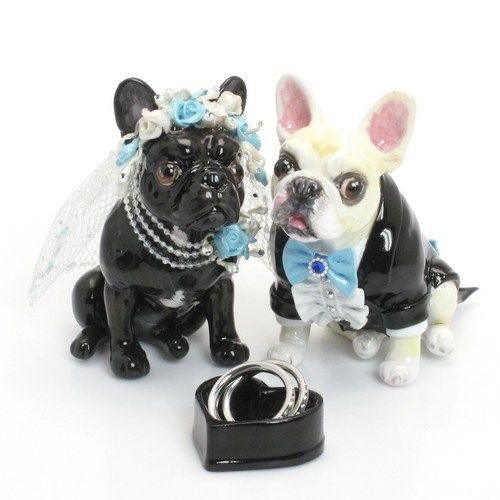 Dog Wedding Cake Topper French Bulldog Tiffany Blue Color Scheme