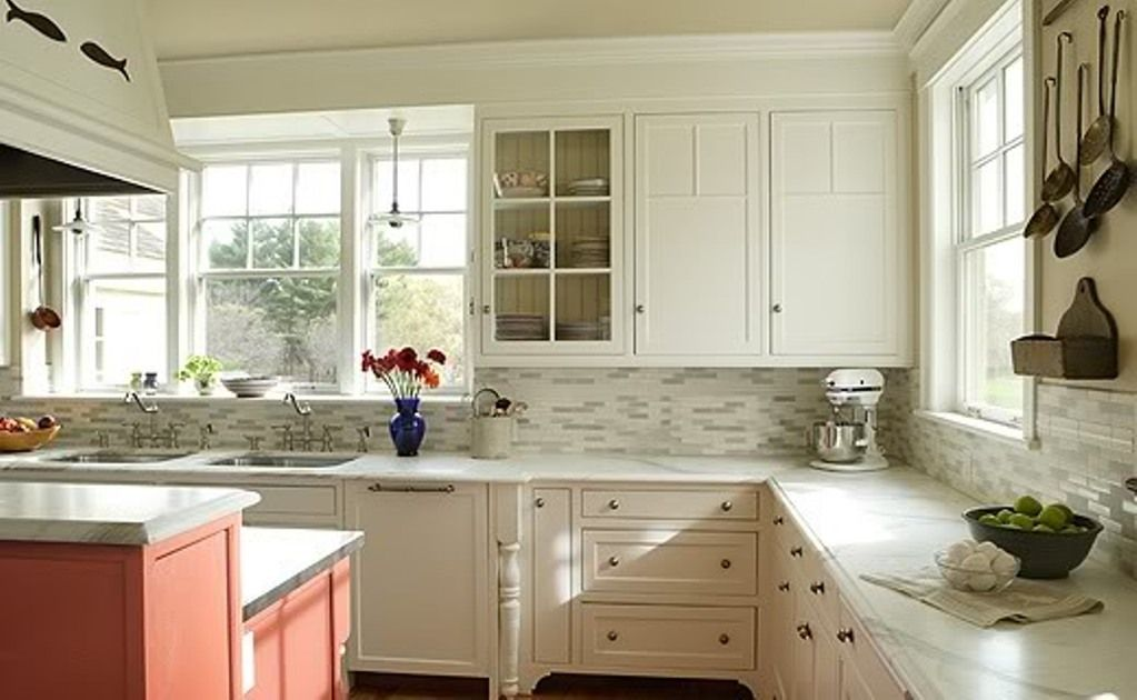 Newest kitchen backsplashes with white antique cabinets for White on white kitchen ideas