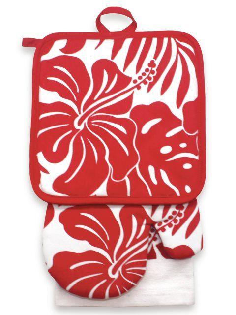 Brand New Hawaiian Kitchen Towel Oven Mitt honu flower red cotton