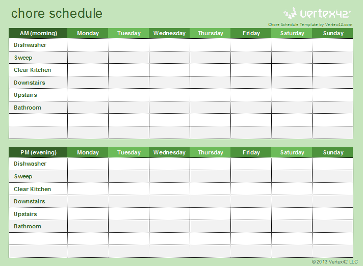 Download A Free Chore Schedule Template For Excel To Help Your