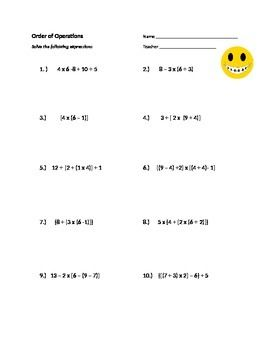Help Can T Find Any Practice Of Order Of Operations Including Parenthesis Brackets And Braces Thi Order Of Operations Math Expressions Math For 4th Graders Order of operations worksheets grade