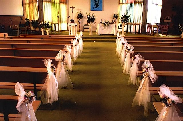 Wedding decorations for church church wedding decoration ideas things to mark pews at weddings wedding church junglespirit Choice Image