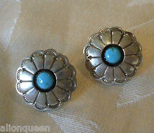 4ce09f4a5 Vintage Southwestern Sterling Silver Turquoise Concho Earrings Flower  Shaped   eBay