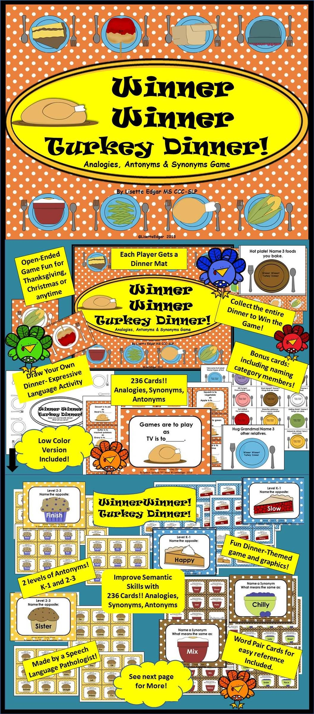 Analogies Synonyms Antonyms Categories Turkey Dinner Activity Speech Therapy Games Christmas Speech Therapy Therapy Games [ 2400 x 1056 Pixel ]