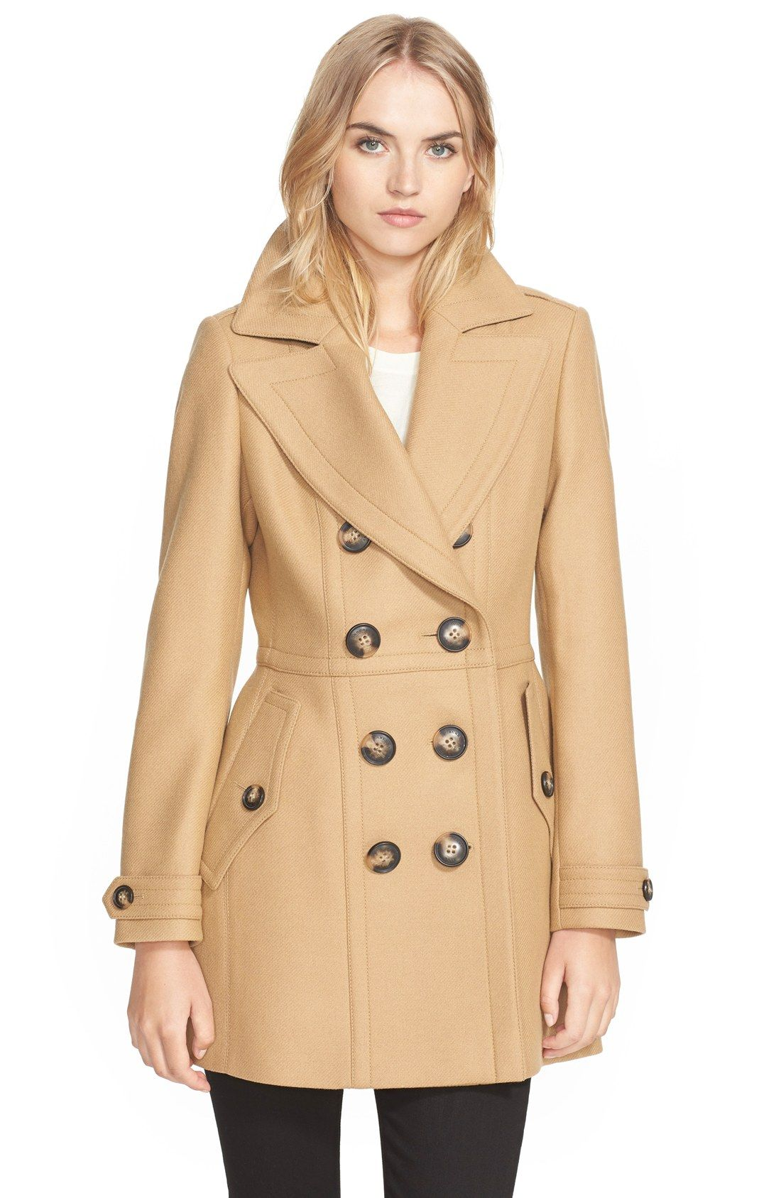Burberry Brit 'Dillsmead' Double Breasted Skirted Wool Blend Coat