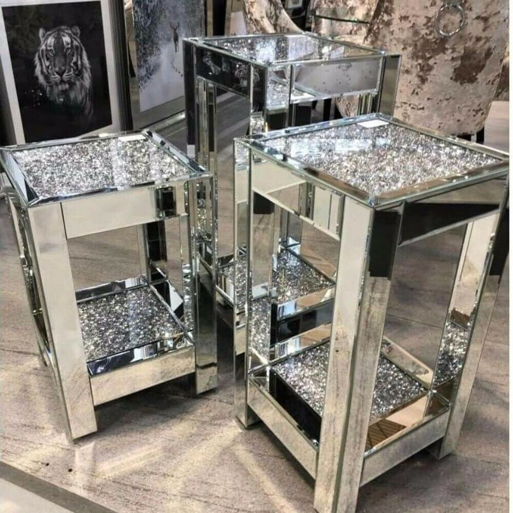 3 sizes square mirrored crushed diamond side tables