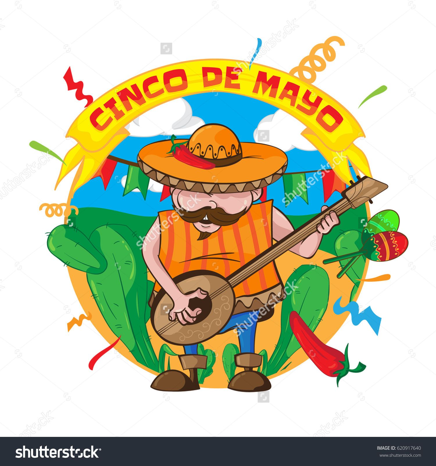 Happy cinco de mayo greeting card with an mexican man in sombrero happy cinco de mayo greeting card with an mexican man in sombrero playing guitar and maracas m4hsunfo