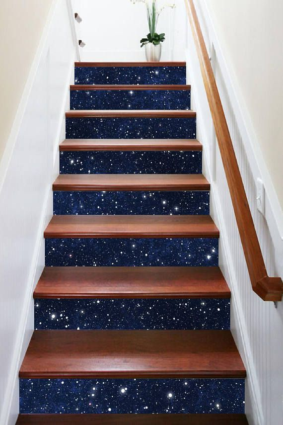 3D Under the Stars View 332 Stairway Stairs Risers Stickers | Home: walls in 2019 | Stair risers ...
