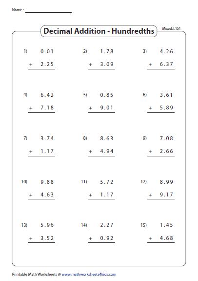 Adding Hundredths Mixed Review Decimals Worksheets Mathematics Worksheets Decimals Addition