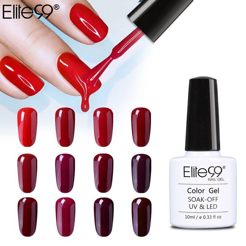 Elite99 10ml UV LED Gel Nail Polish Soak Off Wine Red