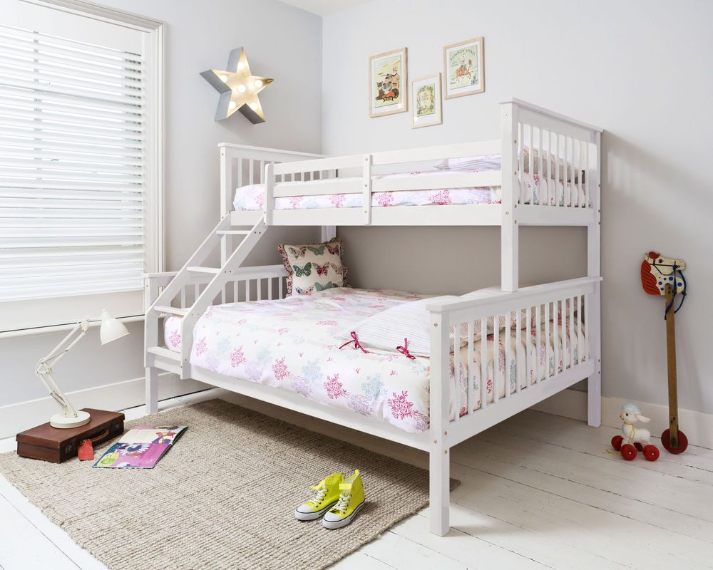 Triple Sleeper Bed Bunk Bed Double Bed in White Hanna