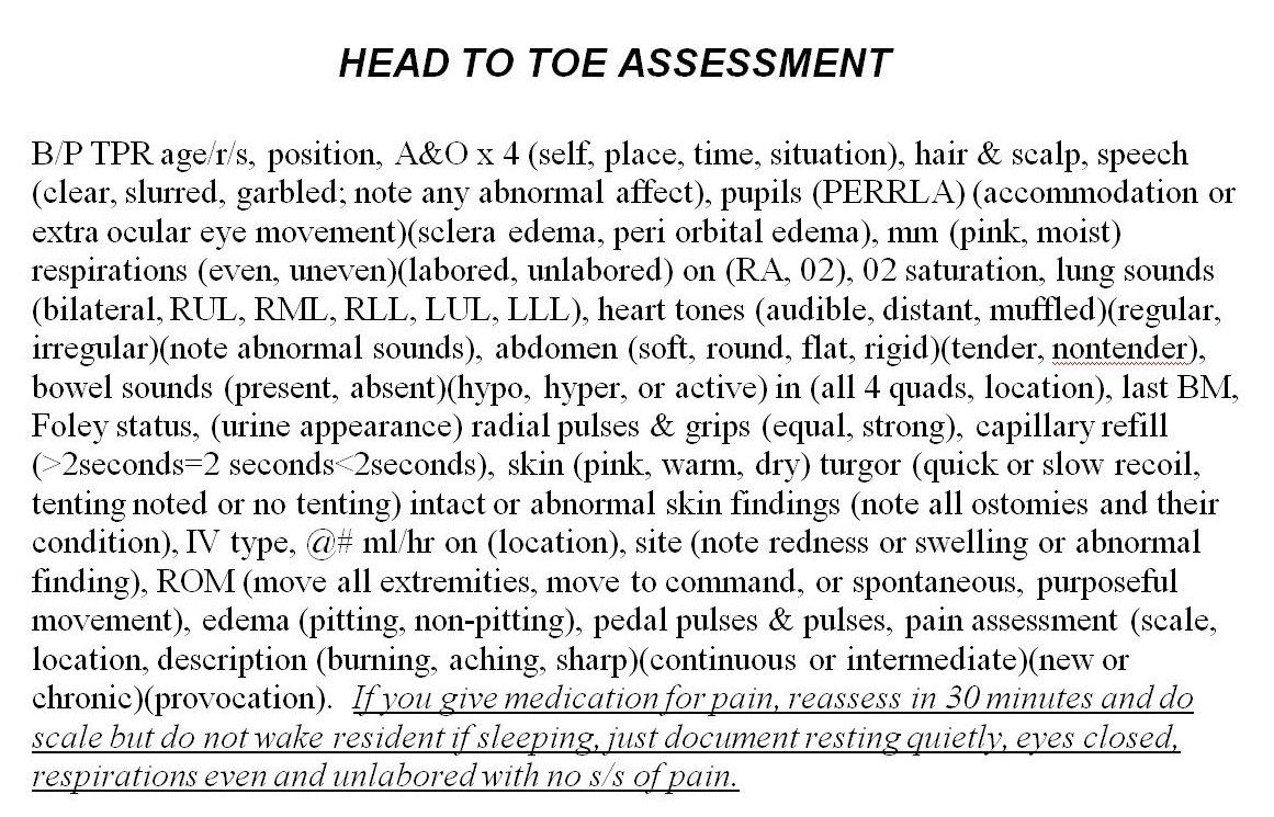 A Head To Toe Assessment Cheat Sheet Forged From  Different