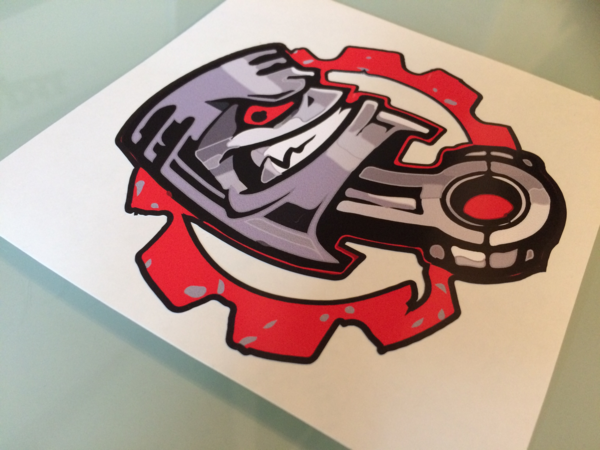 Piston and cogg die cut printed sticker decal wall art design