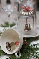 The thrift store find coffee/tea cup is drilled with a high speed drill and a ceramics bit. The clear glass pickle jar or jam jar has likewise been drill with a hole to accommodate the festive ribbon with a ringing bell.  Life the jar lid and ring away; or right the cup and ring away ... angels whisper to our souls when bells of any kind or nature ring.