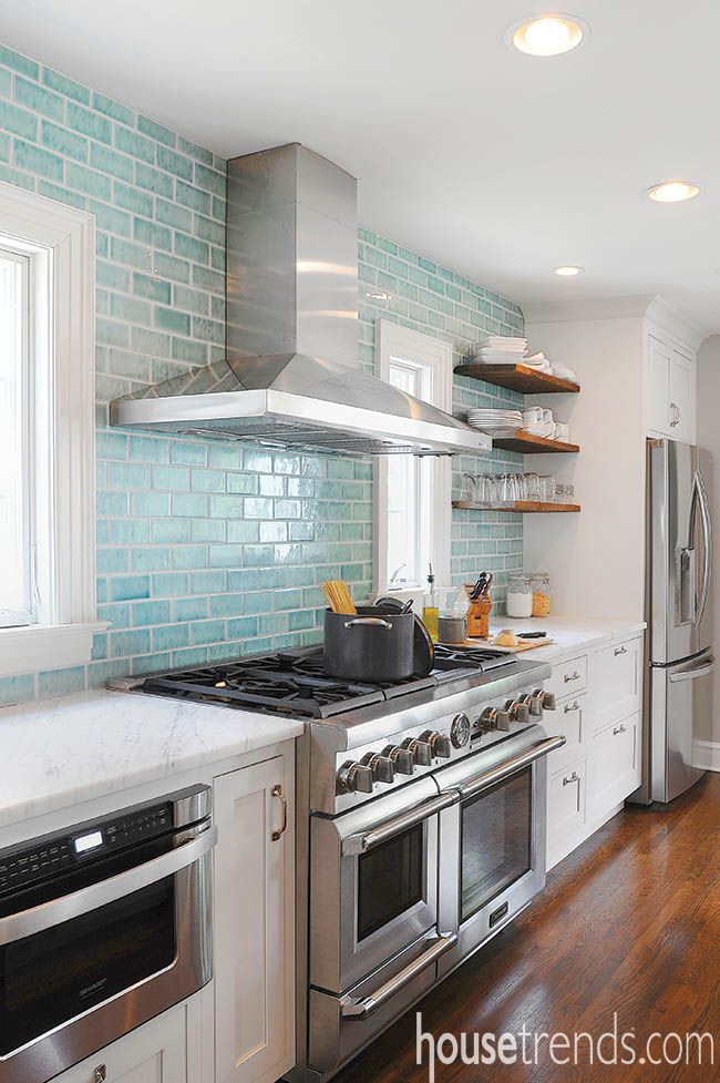 White Subway Tile Backsplashes Are A Timeless Classic This Updated Rendition Brings An Aqua Tinted Upda Blue Glass Tile Kitchen Tiles Kitchen Tiles Backsplash